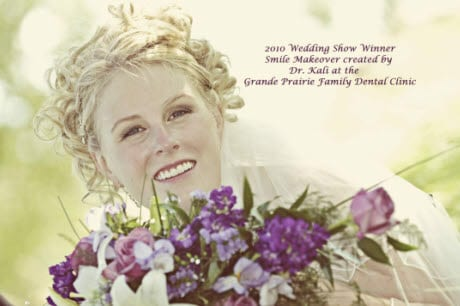Smiling Bride with Flower Bouquet